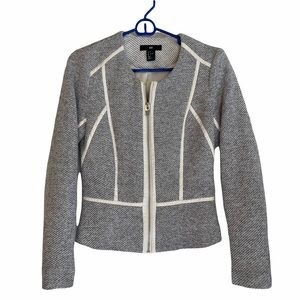 H&M Woven Blazer with Cream Faux Leather Trim 6
